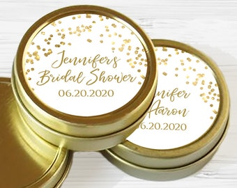 Personalized Bridal Shower Mint Tins | Gold Bridal Shower Favors | Bridal Shower Decor | Bridal Shower Mints | Bridal Shower Ideas