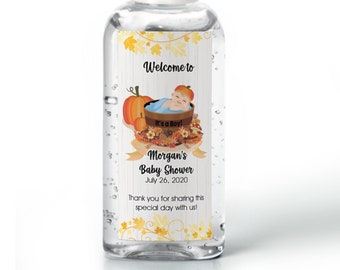 Hand sanitizer labels  - Boys Baby Shower Labels - Pumpkin Baby Shower - Baby Shower Decor - Sanitizer Labels - 25 Different Sizes