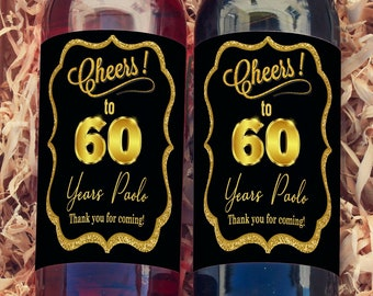 Personalized Cheers to 60 Years Black and Gold Wine Bottle Labels | Perfect for any Age | Set of 10 Labels