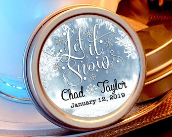 12 Personalized Let is Snow Snowflake Wedding Favors - Winter Wedding Favors  - Winter Wedding Decor - Mint Favors - Christmas Favors