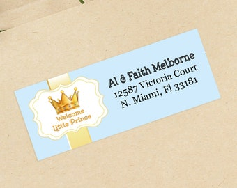Crown Baby Shower Address Labels - Personalized Return Address Labels -  Address Sticker - Address Label Sticker - Custom Address Labels