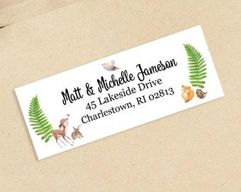 Woodlands Baby Shower Address Labels - Personalized Return Address Labels -  Address Sticker - Address Label Sticker - Custom Address Labels