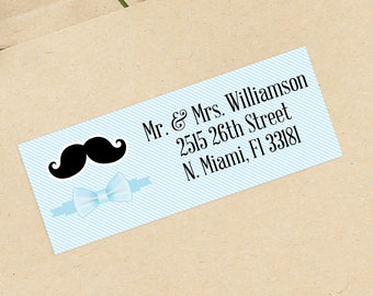 Mustache Baby Shower Address Labels - Personalized Return Address Labels -  Address Sticker - Address Label Sticker - Custom Address Labels