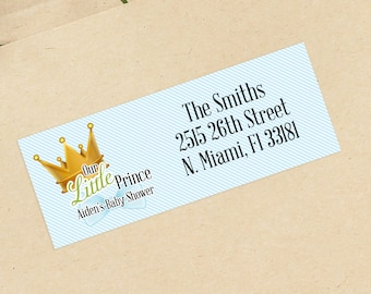 Prince Baby Shower Address Labels - Personalized Return Address Labels -  Address Sticker - Address Label Sticker - Custom Address Labels