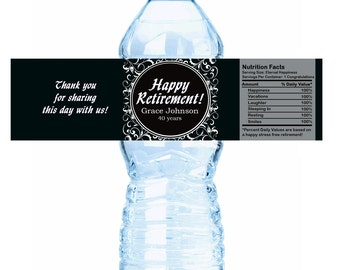 "Retirement Ornate Water Bottle Labels - Starting at a set of 10 - Select the quantity you need below in the ""Pricing & Quantity"" option tab"