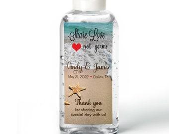 Hand sanitizer Labels - Bridal Shower - Wedding - Rehearsal - Hand Sanitizer Labels - Beach Starfish  - Share Love Not Germs