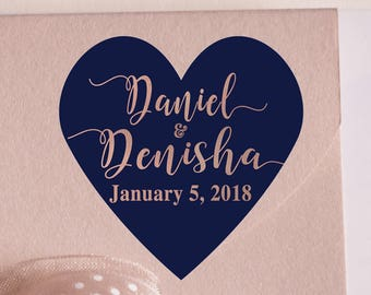 """Thank You Custom Labels - Personalized Stickers -  1.5"""" Heart Stickers -  Names and Date - Wedding Decor - Bridal Shower - Mint to Be"""