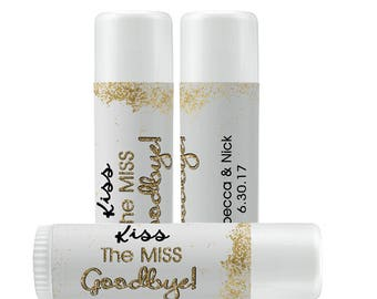 Lip Balm Labels   Personalized Lip Balm Labels - Kiss the Miss Goodbye labels  1 Sheet of 12 Lip Balm Labels - Custom Lip Balm Labels