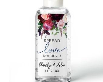 Purell hand sanitizer labels - Bridal Shower - Wedding - Baby Shower - Rehearsal - Wedding sanitizer labels Burgundy Red Floral