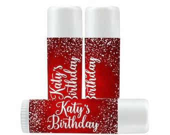 Lip Balm Labels - Personalized Lip Balm Labels - Winter labels - 1 Sheet of 12 Lip Balm Labels - Christmas - Red - Snowflakes