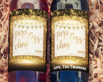 New Years Eve Wine Bottle Label - 2019  New Year's Party - New Year Champagne Label, Party Decor, Wine Label, Happy New Year