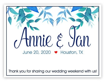 """4"""" x 3""""  Personalized Welcome Box Labels -  Wedding Welcome Bag Labels - Favor Labels - Welcome Stickers - Box Stickers - Blue Green Leaves"""