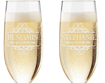 Set of 2 - Personalized Toasting Glasses | Wedding Toasting Flutes | Personalized Toasting Flutes | Personalized Wedding Glasses