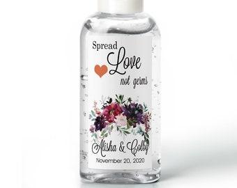 Purell hand sanitizer labels 2 oz. size bottle - Burgundy Purple and Plum Peony Hand Sanitizer Labels - Wedding Favor - Bridal Shower
