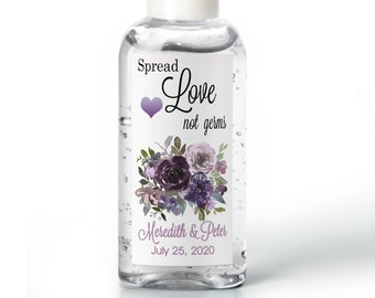 Purell hand sanitizer labels 2 oz. size bottle - Bridal Shower Labels - Purple/Lavender  - Bridal Shower Decor - Spread Love Not Germs