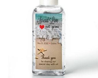 Hand sanitizer Labels - Bridal Shower - Wedding - Rehearsal - Hand Sanitizer Labels - Beach Starfish  - Spread Love Not Germs