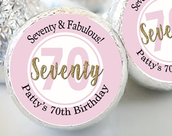 108 Hershey Kiss® Stickers - Kiss Seals - Candy Labels - Birthday Favors - Hershey® Kiss Seals  - Birthday Stickers - Kiss Label - Seventy