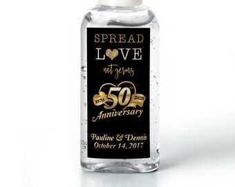 Hand sanitizer Labels - Labels for Hand Sanitizer Bottles - 50th Anniversary Stickers - Anniversary Stickers - Thank You Labels