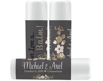Lip Balm Labels - Personalized Lip Balm Labels - Bridal Shower - Wedding - 1 Sheet of 12 Lip Balm Labels - Floral Lip Balm Labels