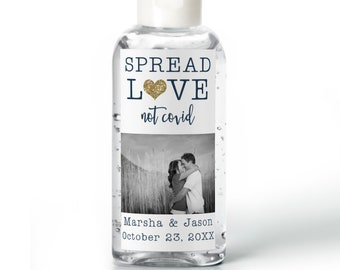 Purell hand sanitizer labels 2 oz. size bottle - Bridal Shower Labels - Hand Sanitizer Labels - Bridal Shower Décor - Spread Love Not Covid