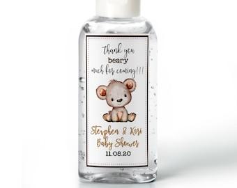 Purell hand sanitizer labels 2 oz. size bottle - Baby Shower Labels - Cute Bear Baby Shower - Baby Shower Decor - Sanitizer Labels