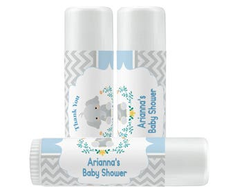 Baby Shower Lip Balm Labels - Personalized Lip Balm Labels - 1 Sheet of 12 Lip Balm Labels - Little Peanut - Chevron - Baby Shower