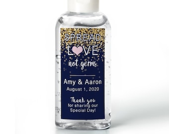 Hand Sanitizer Labels - Sparkle  - Bridal Shower Labels - Wedding Shower - Rehearsal Dinner  - Baby Shower - Spread Love Not Germs