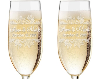 Set of 2 - Personalized Fall Leaves Toasting Glasses | Wedding Toasting Flutes, Personalized Toasting Flutes, Personalized Wedding Glasses