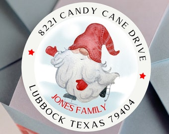 Custom Christmas Gnome Address Sticker,  Christmas Gnome Glossy Round Labels,  Custom Christmas Address Label, Assorted Sizes Available