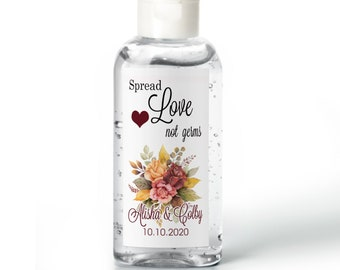 Purell hand sanitizer labels  - Bridal Shower Labels - Hand Sanitizer Labels - Bridal Shower Decor - Spread Love Not Germs - Fall Bouquet