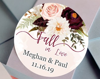 Fall in Love Fall Wedding Favors - Personalized Stickers -  Round Stickers - Fall Floral - Color Coordinated - Wedding Decor - Thank you