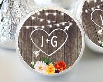 Heart with Initials Fall Wedding Hershey Kiss® Stickers - Hershey Kiss Stickers Wedding - Fall Wedding Stickers - Fall Hershey kiss