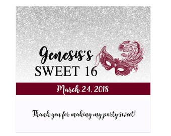 12 Sweet 16 Candy Bar Wrappers for Hershey's Chocolates - Sweet 16 Candy Bar Label - Masquerade Mask - Silver, Burgundy, Black