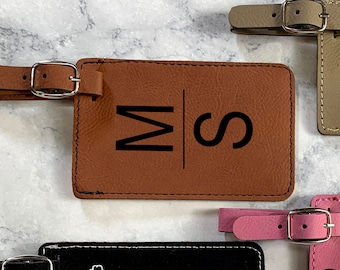 Custom Engraved Luggage Tag, Leather Luggage Tag, Luggage Name Tag, Initials Suitcase Tag, Carry On Tag, Backpack Tag, ID Bag Tag