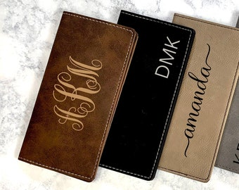 Personalized Checkbook Cover, Leather Checkbook Wallet, Engraved Checkbook Holder, Gift For Women, Monogram Checkbook Case, Gift for Her