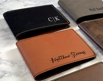 Personalized Men's Wallet, Monogrammed Wallet, Gentleman's Bifold Slim Wallet, Groomsman Gift, Custom Wallet, Gift For Men, Wedding Wallet