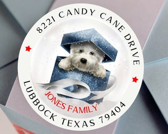 Custom Christmas Cute Dog Address Sticker,  Christmas Gnome Glossy Round Labels,  Custom Christmas Address Label, Assorted Sizes Available