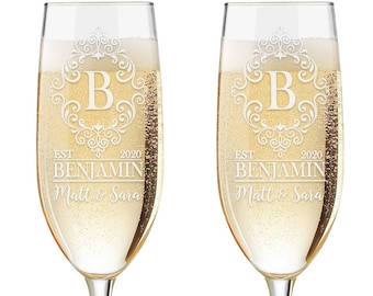 Set of 2 - Personalized Toasting Glasses | Wedding Toasting Flutes | Personalized Toasting Flutes | Personalized Wedding Glasses | Monogram