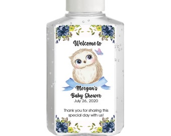 Cute Owl Hand Sanitizer Labels - Baby Shower Labels - Cute Owl Baby Shower - Baby Shower Decor - Sanitizer Labels - New Sizes Available