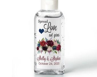 Marsala, Burgundy, Navy and Cream Floral Bouquet Hand Sanitizer Labels | Rectangular Labels | Baby Shower| Bridal Shower | Wedding Shower
