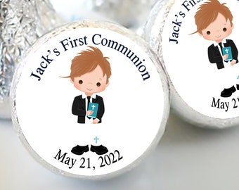 Boys First Holy Communion Candy Kiss Stickers | Communion and Baptism Favors  | Sheet of 108 Stickers | Dirty Blonde Haired Boy