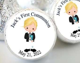Boys First Holy Communion Candy Kiss Stickers | Communion and Baptism Favors  | Sheet of 108 Stickers | Blonde Haired Boy
