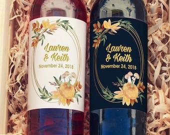 Fall Wreath Pumpkin Wine Labels - Wedding Wine Favors - Retirement Wine Bottle Labels - Birthday Wine Labels  - Wedding Wine Labels