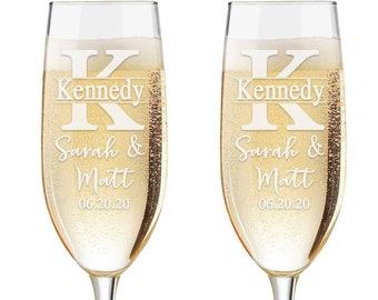 Set of 2 - Personalized Toasting Glasses | Wedding Toasting Flutes | Personalized Toasting Flutes | Personalized Wedding Glasses | Monogram