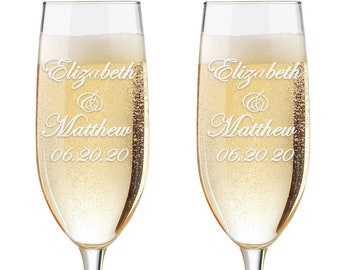 Set of 2 - Personalized Toasting Glasses | Wedding Toasting Flutes | Personalized Toasting Flutes | Personalized Wedding Glasses - Names