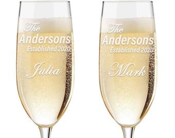 Set of 2 - Personalized Toasting Glasses | Wedding Toasting Flutes | Personalized Toasting Flutes | Personalized Wedding Glasses - Est