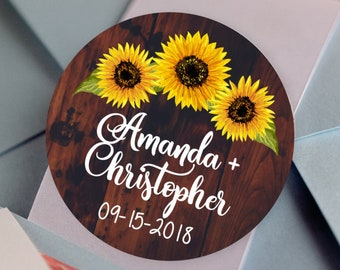 Bridal Shower Stickers, Custom Bridal Shower Labels - Round Sunflower labels - Wedding - Retirement - Birthday - Candy or Cookie Stickers