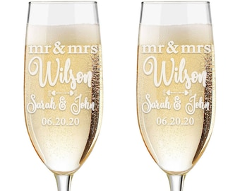Set of 2 - Personalized Toasting Glasses | Wedding Toasting Flutes | Personalized Toasting Flutes | Personalized Wedding Glasses | Name