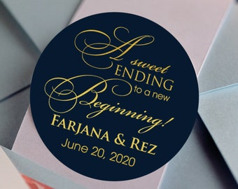 Personalized A Sweet Ending to a new Beginning Thank you Favor Labels   Wedding Favor Stickers - Custom Favor Tags Stickers - Round Labels