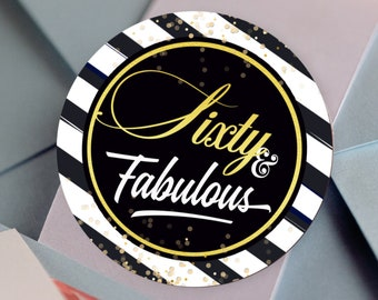 FIFTY & FABULOUS Labels | 60 and Fabulous Birthday Stickers |  Round Candy Stickers |  Black Stripes and Gold Dots
